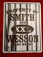 """Property of Smith and Wesson XXL Metal Sign 2nd Amendment Make My Day 9"""" By 12"""""""