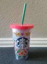 2017 Starbucks Cold Cup Tropical Birds Acrylic Tumbler Red Straw 16 oz NEW Tags