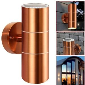 2X Copper Stainless Steel Up Down Wall Light GU10 IP65 Double Indoor Outdoor LED