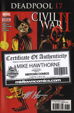 DEADPOOL #17 Civil War II tie in signed by Mike Hawthorne NM COA marvel