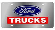 New Ford Trucks Red Logo Stainless Steel License Plate