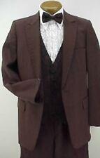"Vintage 4pc Dk Burgundy Polyester Prom Tuxedo 38S 30""-32"" Waist Black Pants"