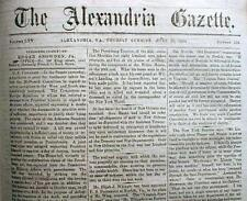 Rare original Union Occupation CIVIL WAR newspaper ALEXANDRIA Virginia 1863-1865