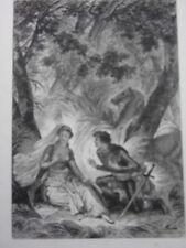 GRAVURE FRAGONARD 1840 / LA FIANCEE..LE CHEVALIER