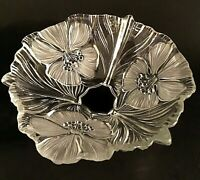 """MIKASA CRYSTAL BOWL GLASS FLORAL HIBISCUS FROSTED FLOWER SHAPED 8 7/8"""""""