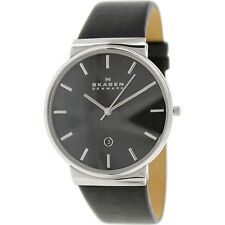 Skagen Men's Ancher SKW6104 Black Leather Quartz Dress Watch