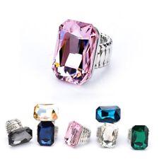 Women Multicolor Alloy Square Crystal Gem Ring Elastic Stretch Finger Rings Gift