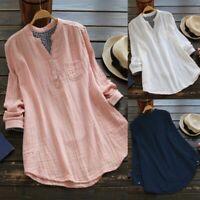 Principios de otoño Cuello en V Color puro tops Camisa de lino De manga larga