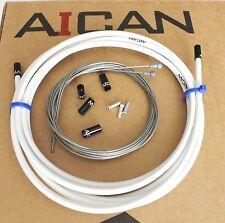 Aican Premium bike Road Brake cable housing set kit Alloy Ferrules White