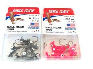 Eagle Claw Ball Head 1/16oz Fishing Jig Head 10pk Black Pink