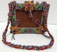 Mary Frances Leather Beaded Box Shoulder Bag