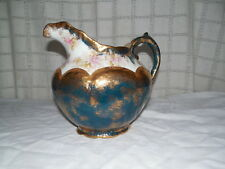 Vintage Warwick china porcelain large pitcher gold accents Lovely!