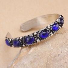 Unisex Gift Vintage Lapis Lazuli Bead Cuff Bracelet Bangle Tibet Silver gift