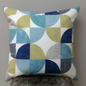 "Handmade cushion cover...geometric, turquoise, blue, ochre 18 X 18"""