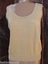 ST. JOHN BASICS Marie Gray GOLD METALLIC SWEATER knit TOP cami shell S/M  M