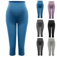 1*Capri Pants Women Maternity High Waist Tummy Stretchy  Length Yoga Exercise