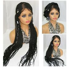 """4"""" by 4"""" closure-Ghana weaving- braided wig-summer style- lace front- black wig"""