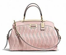 NWT COACH Madison Gathered Leather Andie Satchel Light Gold Neutral Pink F30085