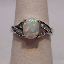 Sterling Silver Ring Size 6 *Estate~Opal & Clear Gemstone Accents 925