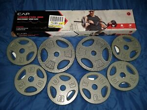 """CAP Combo Curl Bar Holds + 50lbs Of Standard 1"""" Weight Lifting Plates Brand New"""