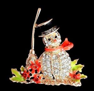 Winter Snowman Pin With Broom, Brilliant Sparkling Rhinestones, Golden Finish