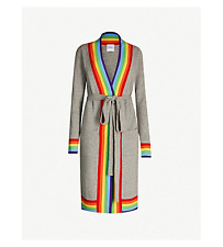 MADELEINE THOMPSON Arthur Grey Cashmere & Rainbow Stripe Knit Long Cardigan M
