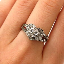 925 Sterling Silver Real Diamond Heart Design Ring Size 7