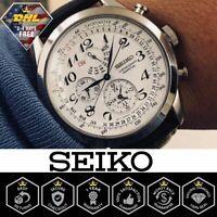 Seiko SPC131P1 Men's Neo Classic Watch Alarm Perpetual Chronograph Leather Strap