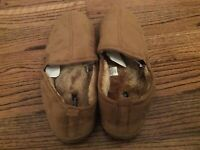 New Men's Slippers winter Slipon Brown Tan Dockers shoes comfy fluffy Size 13 XL