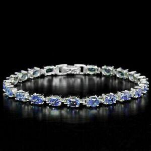 Bracelet Blue Violet Tanzanite Genuine Natural Gems Sterling Silver 7 1/2 Inch