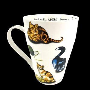 "Paul Cardew Cat Tea Kitten Coffee Mug 2015 England Siamese Tabby Calico 4.75"""
