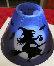 Yankee Candle Halloween  Spellbound Witch Crackle Glass Jar Shade Purple NEW