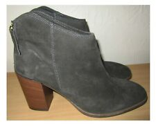 """CLARKS DARK GREY SUEDE ANKLE BOOTS, BACK ZIPPER, 3.5"""" CHUNKY HEELS  SIZE 7D UK"""