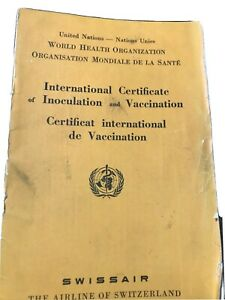 SWISS AIR LINES Swissair United Nations WHO Certificate Of Inoculation Booklet