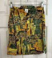 "Vintage 70s SEARS Boys disco Shirt Brown Green Orange NWOT 3.5"" Collar"