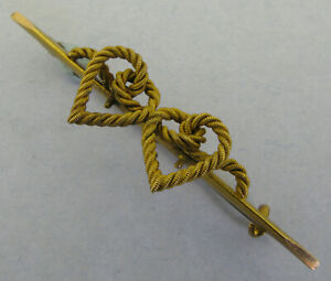 Victorian Edwardian Antique 15K 15CT Gold Rope Love Hearts Brooch Pin