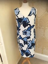 NEW NEXT Blue White FLORAL LINEN MIX SHIFT DRESS 8 10 16 POCKETS TUNIC Holiday