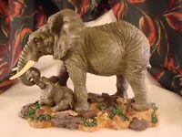 "Mama & Baby ELEPHANT Figurine Resin Westland Giftware Hand Painted 7 1/8"" T #EL4"
