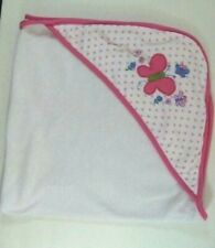 Babies R Us Hooded Baby Bath Blanket Pink White Butterflies Dots Terrycloth B413