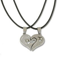 Men Women Lover Couple Necklace I Love You Heart Stainless Steel Pendant Gift