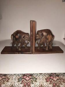 Vintage Wooden Hand Carved Elephant Bookends