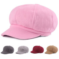 Unisex Men Women Solid Color Driving Gatsby Cap Casual Cabbie Newsboy Hat