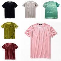 Men Women Velvet Short Sleeve T-Shirt Tops Crew Neck Velour Top Tee Shirt Slim