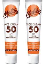 2x Malibu Face Cream SPF 50 High Protection UVA UVB Sunscreen Aloe Vera 40ml