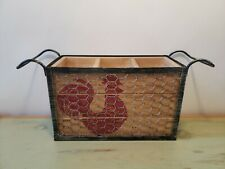 """Rustic Red Rooster Kitchen Tool Utensil Caddy Wood Wire Metal - 15 """"x 5"""" x 6.5"""""""