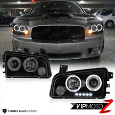 "2006-2010 Dodge Charger ""SINISTER BLACK"" Quad Halo LED Projector Headlights Lamp"