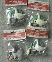 Lot of 4 Artmark Rabbit or Duck with Babies Farm Animal Fridge Magnets NIP