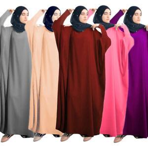Ramadan Muslim Womens Kaftan Maxi Dress Prayer Abaya Casual Loose Robe