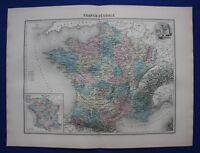 Original antique map MEDIEVAL FRANCE, 'FRANCE FEODALE', Migeon, 1891