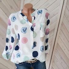 Tupfen Bluse weiß-bunt Tunika Shirt Long Boho Gr. 38 40 42  NEU H3